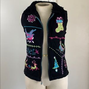 Embroidered ugly Christmas sweater vest neon